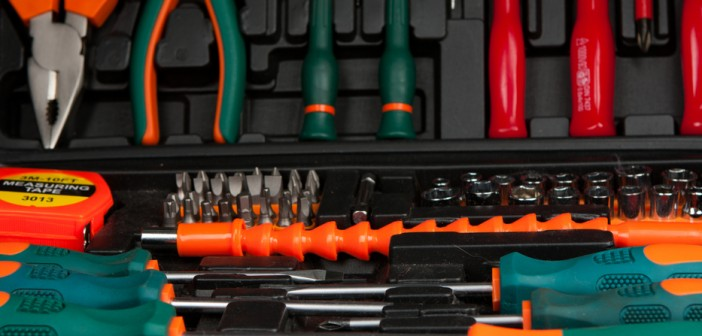 Tool kit in black box. Set of various tools