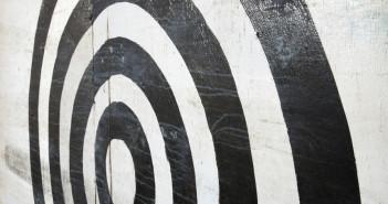 Black and white bullseye target.