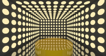 Podium in Empty room with abstract color yellow lighting sphere wall and black wall