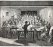 Old illustration of an industrial chemistry lesson for workers. Created by Flemeng, published on L'Illustration, Journal Universel, Paris, 1857