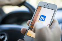 LinkedIn logo on mobile phone screen