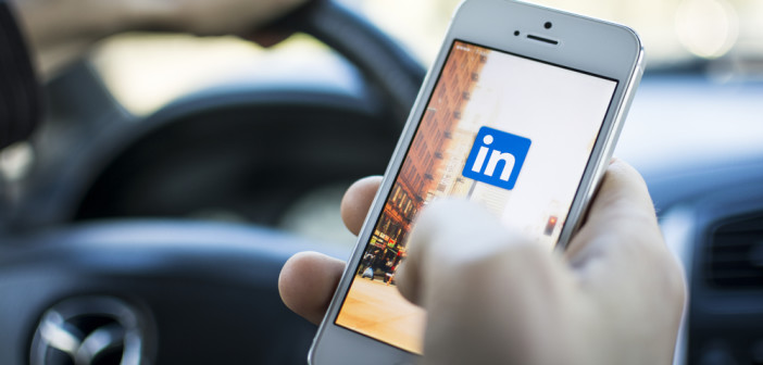 LinkedIn logo on mobile phone screen