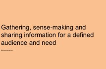 Quote reading: Gathering, sense-making and sharing information for a defined audience and need