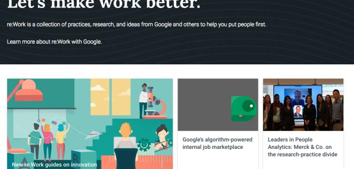 Screenshot of Google's reimagining work homepage