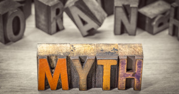 myth word abstract in vintage letterpress wood type printing blocks, color combined with black and white image