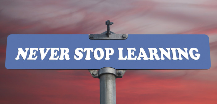 road sign that says Never stop learning