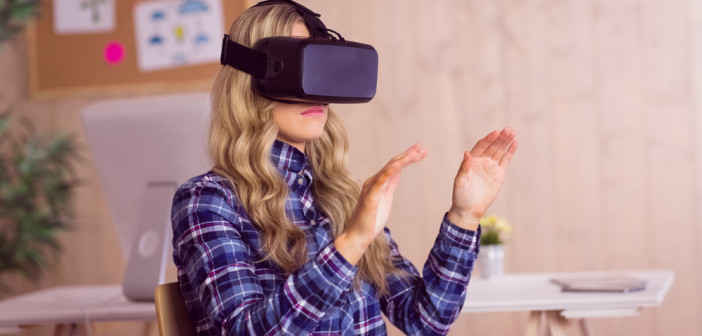casual worker using oculus rift in her office