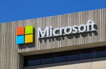 Microsoft logo on building