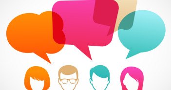people icons with colorful dialog speech bubbles