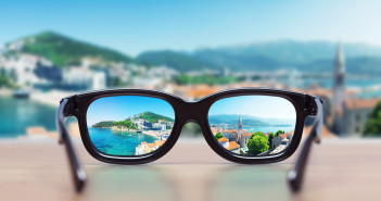 Reflection of a city in sunglasses lenses