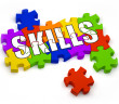 3D jigsaw pieces with text saying skills