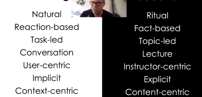 Screen shot of the video, listing the differences between education and learning