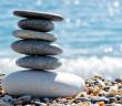 Pile of stones on beach.