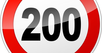 illustration of red and black speed limit sign reading 200