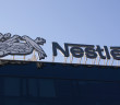The headquarters of Nestle chocolate factory in the capital city of Prague in the Czech Republic. Detailed view of the logo.