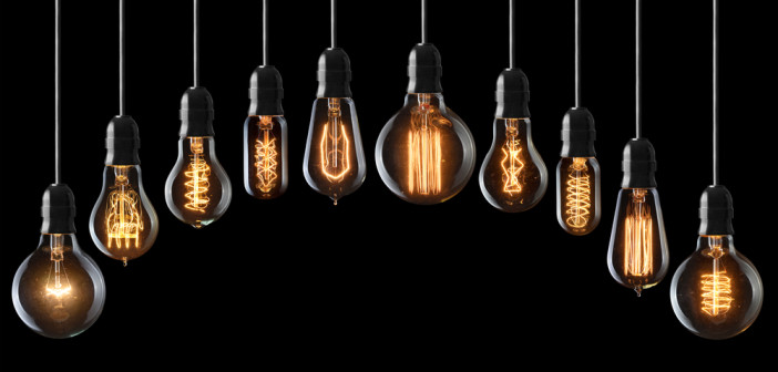 Set of vintage glowing light bulbs