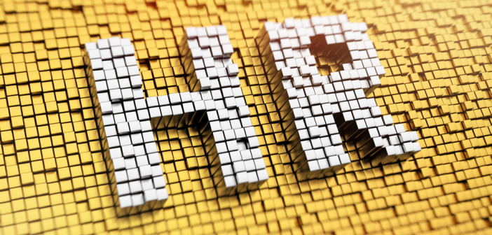 Pixelated acronym HR made from cubes, mosaic pattern