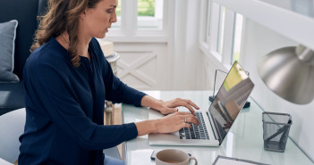 Woman manager working from home
