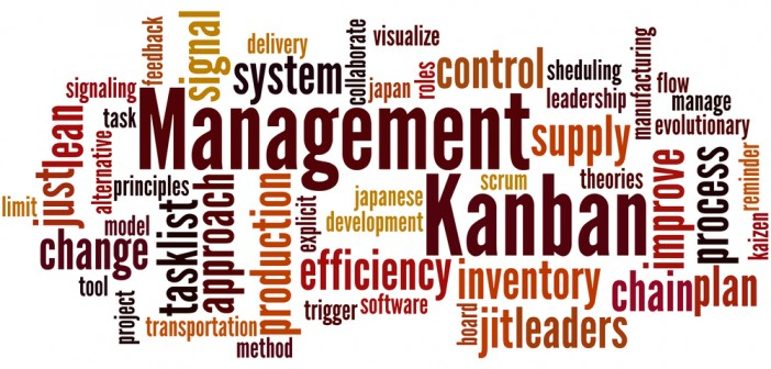 Kanban Management, word cloud concept on white background.