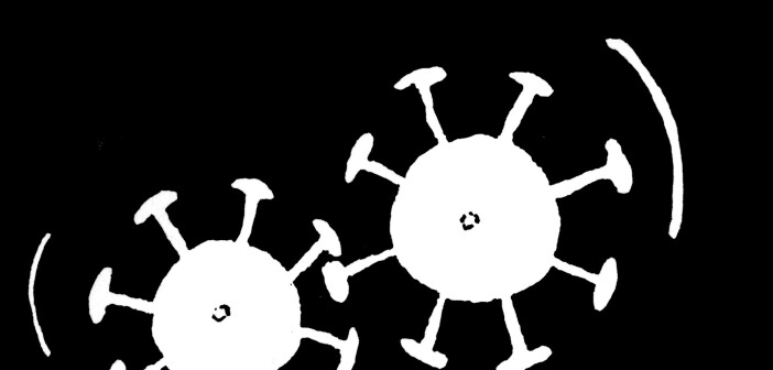 Cartoon image of Covid-19 virus
