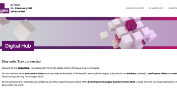 The Learning Technologies Digital Hub screenshot