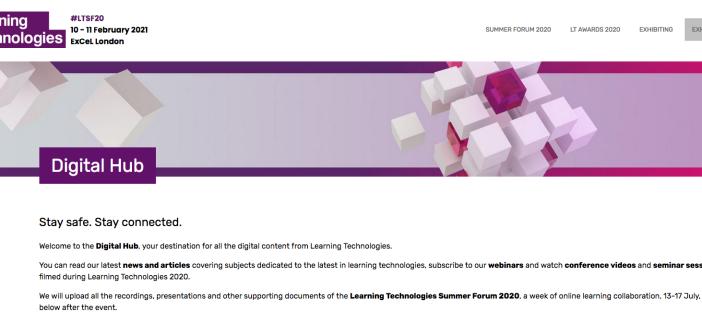 The Learning Technologies Digital Hub screenshot