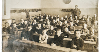 Children on victorian classroom