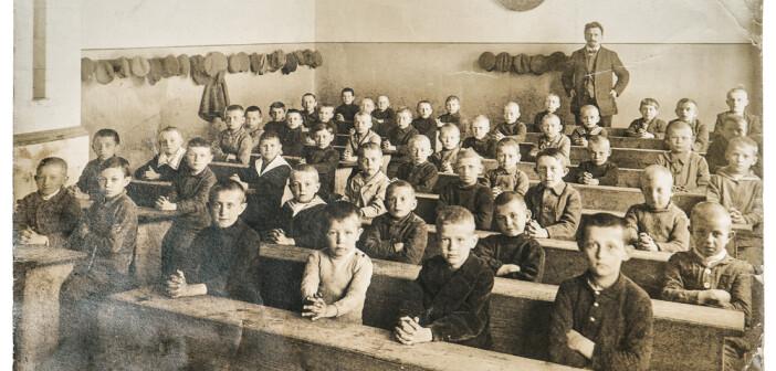 Children on victorian classroom