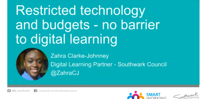 Opening slide of talk on Restricted technology and budgets: no barrier to digital learning