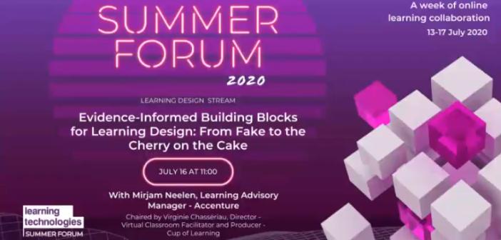 Opening slide from talk on Evidence informed building blocks for learning design
