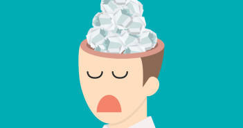 Cartoon of Crumpled paper in head.