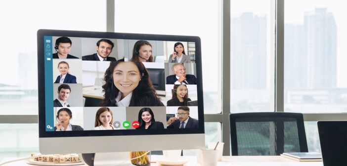 Video call business people meeting on virtual workplace or remote office.