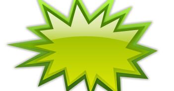 Green boom icon on white background