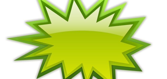 Green boom icon on white background