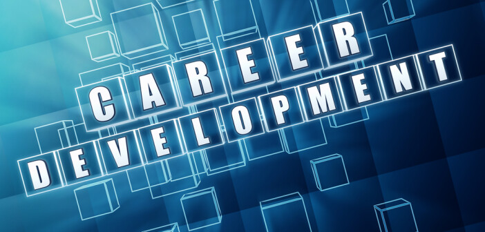 career development in blue glass cubes